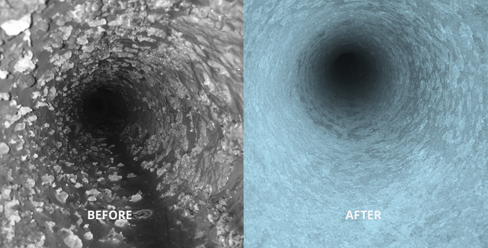Before and after image of clean pipe